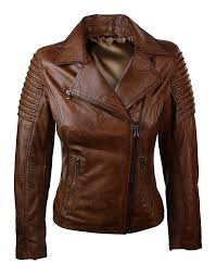 women slim fit brown leather jacket