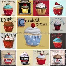 Cupcake Kitchen Decorations Catherine Holman Folk Art Cupcake Collage Print And Kitchen