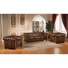 Leather Living Room Amax Hickory Chesterfield Genuine Leather 3 Piece Leather Living