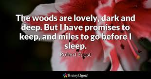 After Hours Quotes 55 Awesome The Woods Are Lovely Dark And Deep But I Have Promises To Keep
