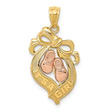 jewelry s network 14k yellow rose gold its a girl words baby shoes and bow pendant 20x13mm com