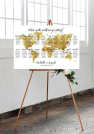 World Map Wedding Seating Chart Editable Gold World Map Seating Chart Unconventional