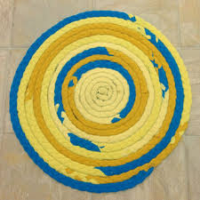 clearance yellow teal rug braided rug round rug upcycled