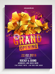 Free Grand Opening Flyer Template Grand Opening Flyer Banner Or Template Decorated With Glossy Golden