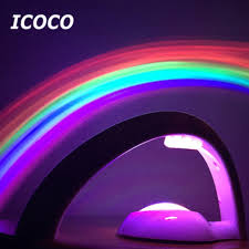 Rainbow Projector Light Us 4 46 26 Off Icoco Led Night Ligh 2nd Generation 3d Romantic Rainbow Projector Color Night Lamp Atmosphere Lamp For Baby Bedroom Home Decor In Led