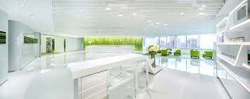 white modern office. modern green office design with the refreshing look white workspace