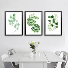 minimalist natural leaf canvas paintings nordic green wall art pictures posters prints for kitchen living room on green wall art decor with minimalist natural leaf canvas paintings nordic green wall art