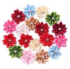 Paper Ribbon Flower Amazon Com Yaka 50pcs Satin Ribbon Flowers Bows Rose W Rhinestone