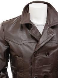 men s brown leather peacoat bursdon side