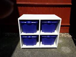 white wooden toy storage unit on castors storage boxes cash on collection from gosport