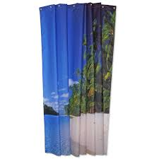 shower curtain with a beach image
