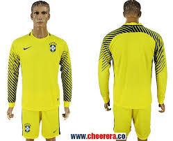 Soccer Mens Goalkeeper Yellow Cup Jersey Brazil 2018 Sportswear Fifa Tops World Long Sleeve Soccer