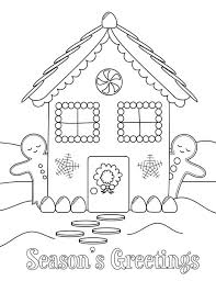 Gingerbread House And Two Gingerbread Man Coloring Page Netart