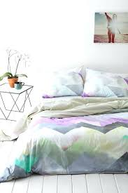 Feminine Bedroom Design With Purple Yellow Grey Green With Transparen  Chevron Style Duvet Cover And Grey