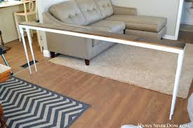 behind the couch table diy sofa table always never done couch console table diy