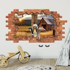 3d wall decal geese in hole decor 3d