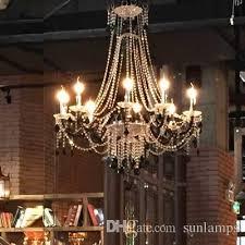 led free delivery dia 100cm large cafe bar black chandelier led candle holder light dining room clear crystal light res de cristal lamps bubble