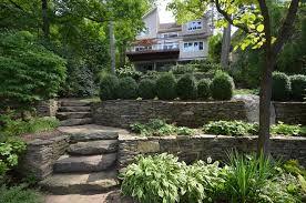 hillside landscaping walls steps gardens