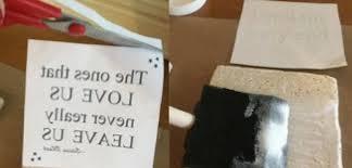 diy tile coasters transfer words onto ceramic tiles