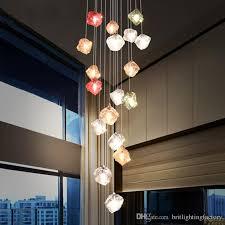 nordic villa rotary staircase long pendant lamp clothing decoration led hanging light personality hotel restaurant glass pendant light pendant lamp