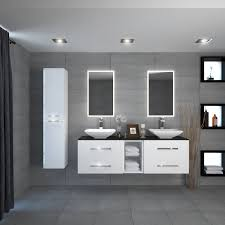 1500mm wide white and black double basin vanity unit