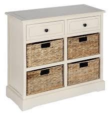cream wood 2 drawer 4 basket storage