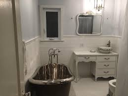 bathroom country french bathrooms white porcelain alcove bathtub smooth oval freestanding tub light blue wall