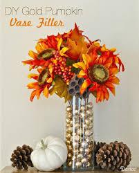 gold pumpkin diy vase filler tutorial