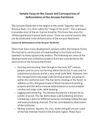 sample essay on the causes and consequences of deforestation of the a  sample essay on the causes and consequences of deforestation of the amazon rainforest the amazon rainforest