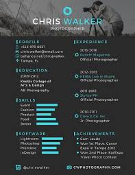 Photographer Resume Template Awesome Black And Blue Photographer Resume Templates By Canva