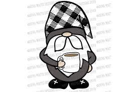 Farmhouse Coffee Gnome with Buffalo Check Hat Cut File SVG (392497)   SVGs    Design Bundles