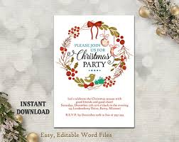 Christmas Invitation Template Stunning Christmas Party Invitation Template Printable Holly Wreath