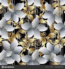 3d flowers vector seamless pattern ...