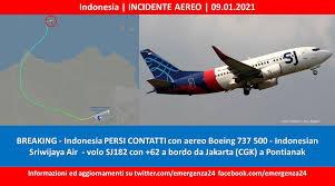Indonesia - Incidente aereo - 09.01.2021 - Emergenza24Emergenza24