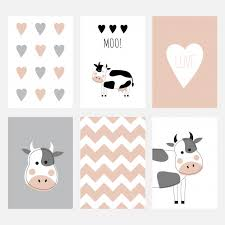 The Set Of Six Cute Postcards With A Cow Vector Premium Download