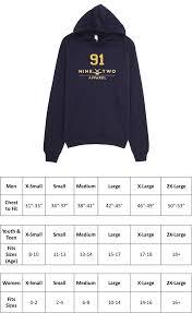 American Apparel Hoodie Size Chart Pre Game Custom Gold