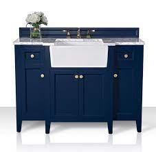 Ancerre Designs Vts Adeline 48 Hb Cw Gd Adeline 48 Inch Bath Vanity Set In Heritage Blue With Italian Carrara White