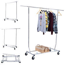 clothing racks for sale. New Heavy Duty Commercial Grade Clothing Garment Rolling Collapsible Rack Chrome Intended Racks For Sale