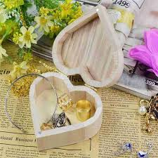 Blank Boxes To Decorate Fashion wedding Jewelry Box Love Heart Shape DIY Wooden blank 57
