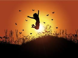 theme. A Young Girl Jumping Against Sunlit Background, Symbolising The Theme Of \u0027coming