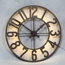 ... Clocks, Excellent Large Round Wall Clocks Oversized Rustic Wall Clocks  Metal Grey Clock Blue Wall ...
