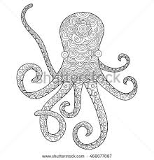 hand drawn octopus for coloring book for shirt design logo tattoo and