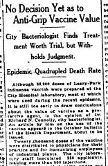 The 1918 19 Spanish Influenza Pandemic And Vaccine