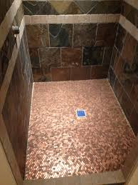 not one single penny was cut to be placed on the shower floor