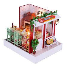 aliexpresscom buy 112 diy miniature doll house. Pizza Shop Miniature Dollhouse Furniture,Funny DIY Wood Doll House  Assembling Toy For Children Birthday Aliexpresscom Buy 112 Diy Miniature Doll House