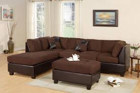 brown fabric chicolate faux leather sectional w ottoman f7615 poundex reviews f7615