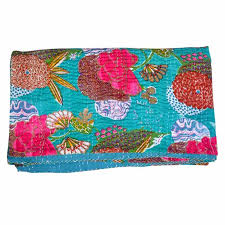 Buy Turquoise Floral Handmade Kantha Quilt for Sale &  Adamdwight.com