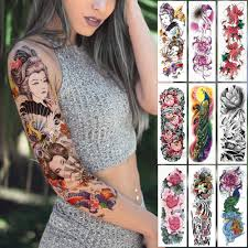 большие татуировки на руку японская гейша змея водонепроницаемая