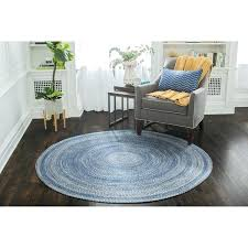 S 8 Round Jute Rugs Blue Braided Rug