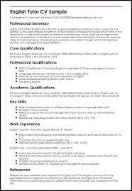 Resume In English Sample Teacher Samples English Resume Sample